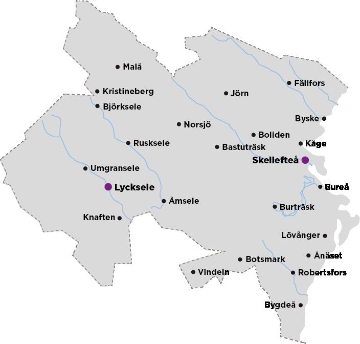 Karta över Skellefteå Krafts nätområde