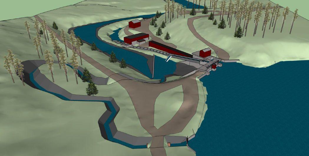 Här ser du en bild av hur omlöpet vid Hednäs kraftstation är planerat att se ut.