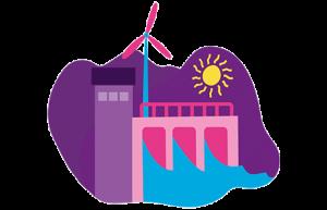 illustration över vattenkraftverk