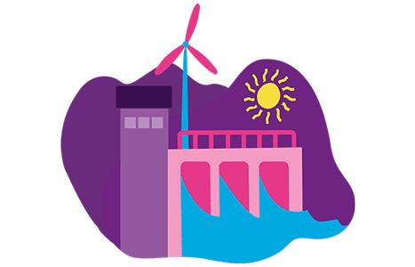 Illustration över ett vattenkraftverk
