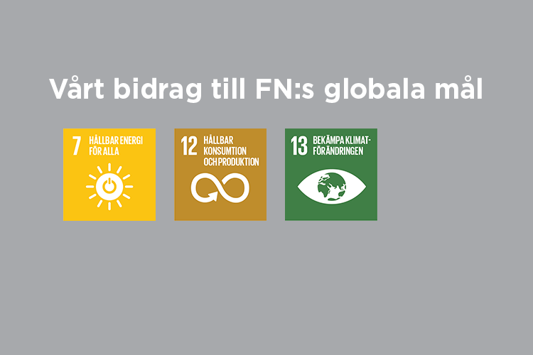 Vårt bidrag till FN:s globala mål: Mål 7,12 och 13