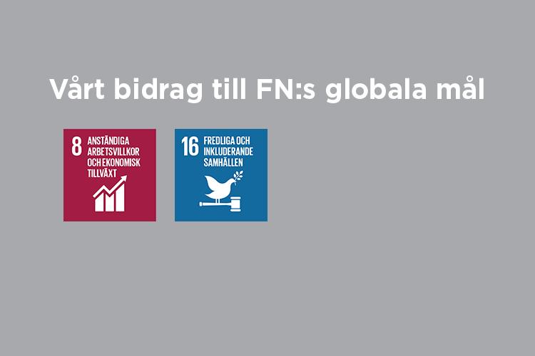 Vårt bidrag till FN:s globala mål: Mål 8 och 16