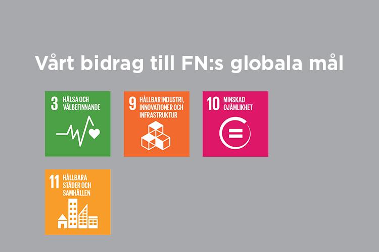 Vårt bidrag till FN:s globala mål: Mål 3,9,10 och 11 8