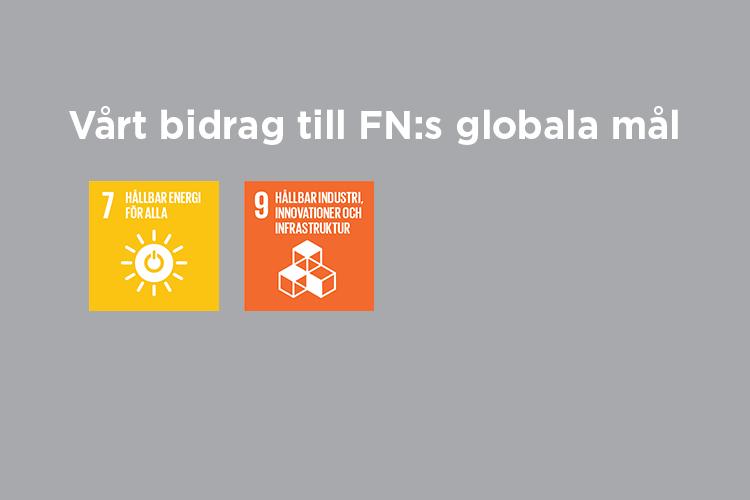 Vårt bidrag till FN:s globala mål: Mål 7 och 9