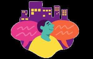 Illustration över samhällsansvar och engagemang