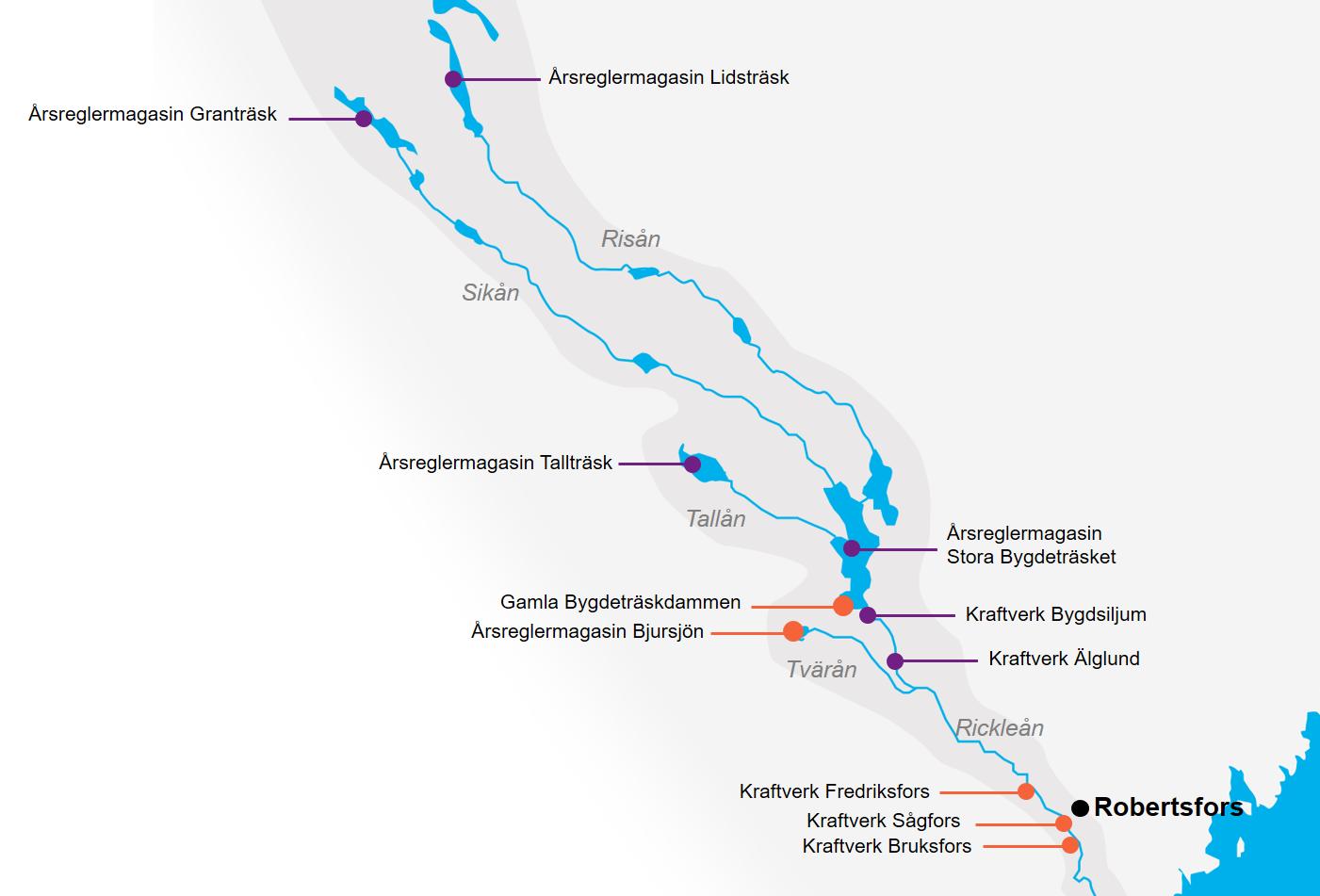 Karta över våra anläggningar i Rickleån